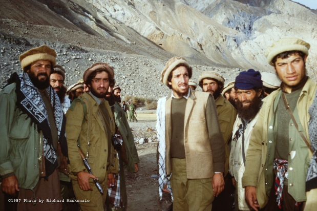 Ahmad Shah Massoud (center right), with Dr. Abdullah (center left) and other key commanders, aides and bodyguards in Northern Afghanistan in 1987.