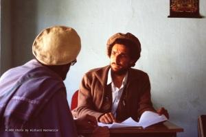 Ahmad Shah Massoud meets with a civic leader...