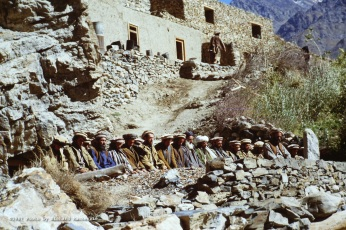 Devotion… Anti-Soviet resistance fighters at prayer in the North of Afghanistan in 1987.