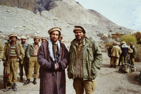 Richard Mackenzie, at right, with Ahmad Shah Massoud in Jangal, Afghanistan the day before the Battle of Keran and Minjon in 1987.