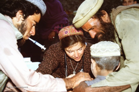 Dr. Kate at work in Nuristan -- saving children from the ravages of Measles.