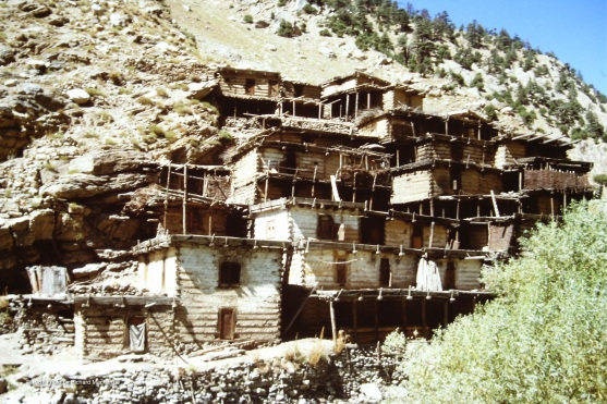 A community of houses in Nuristan -- the upper buildings for people.