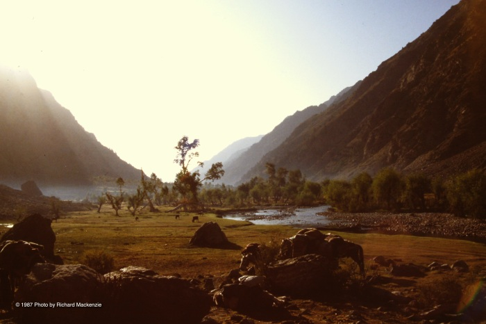 Sun sets in a remote valley in Afghanistan where Rahman Baig and I tread through dangerous territory.