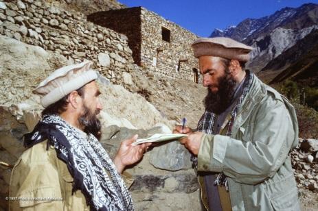 Saranwal Mahmoud Khan -- Emir of Panjshir with an aide in 1987.