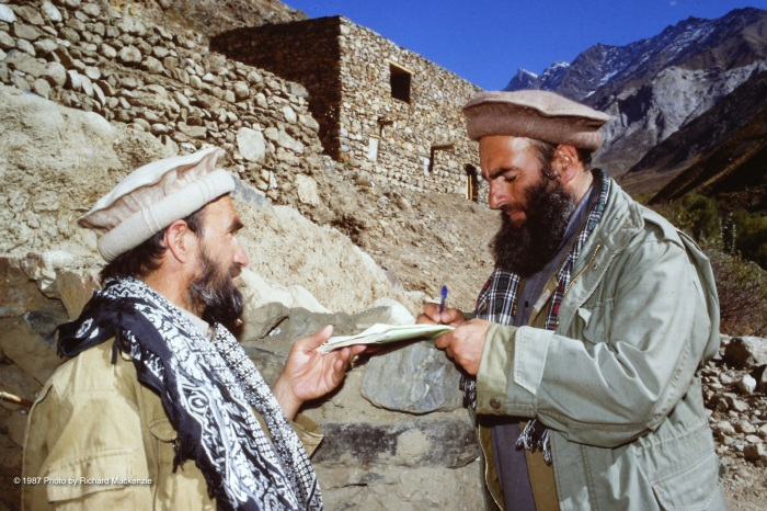 Saranwal Mahmoud Khan -- Emir of Panjshir with an aide in 1987.