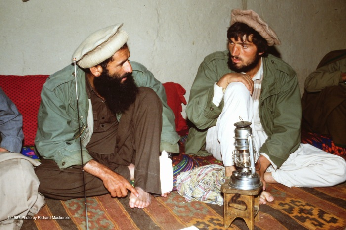 Commander Najmuddin who suffered a minor injury while chopping wood confers with one of his Stinger operators.