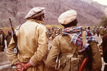 Mujahideen awaiting speech and detailed plans. Matt Gul, left.